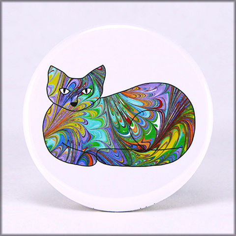 marbled,paper,rainbow,cat,magnet,marbled_paper,functional_art,kitchen_magnet,refrigerator_magnet, rainbow magnet, cat magnet, rainbow kitty magnet, large magnet, round magnet
