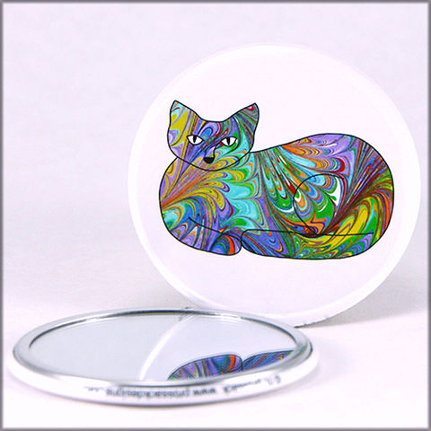 marbled,paper,rainbow,cat,pocket,mirror,pocket mirror, purse mirror, round mirror, cat mirror,marbled_paper,functional_art,rainbow cat, marbled kitty, marbled paper,cat lover gift