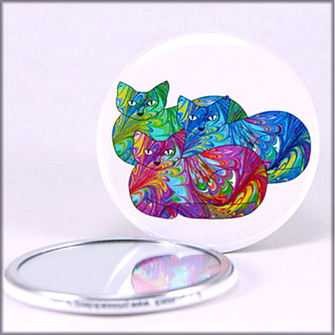 marbled,paper,rainbow,cat,trio,pocket,mirror,pocket mirror, purse mirror, round mirror, cat mirror,marbled_paper,functional_art,rainbow cat, marbled kitty, marbled paper,cat lover gift