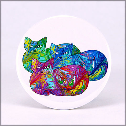marbled,paper,rainbow,cat,trio,magnet,marbled_paper,functional_art,kitchen_magnet,refrigerator_magnet, rainbow magnet, cats magnet, kitties magnet, large magnet, round magnet,cat lover gift