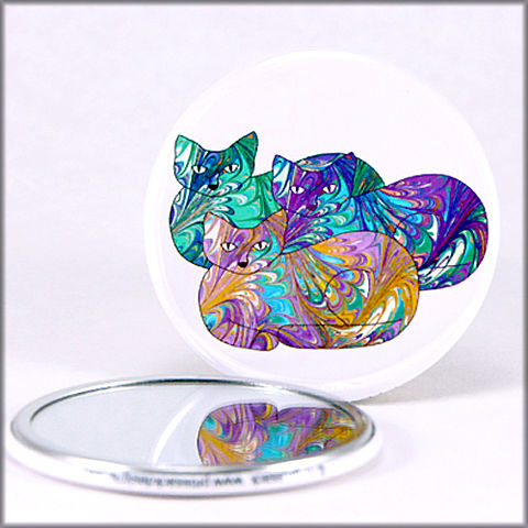 marbled,paper,pastel,cat,trio,pocket,mirror,pocket mirror, purse mirror, round mirror, cats mirror,marbled_paper,functional_art,rainbow cats, marbled kitties, marbled paper,cat lover gift