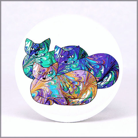marbled,paper,pastel,cat,trio,magnet,marbled_paper,functional_art,kitchen_magnet,refrigerator_magnet, pastel magnet, kitty magnet, cat magnet, large magnet, round magnet