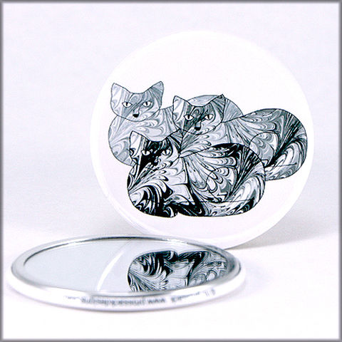 marbled,paper,black,and,white,cat,trio,pocket,mirror,pocket mirror, purse mirror, round mirror, cats mirror,marbled_paper,functional_art,black and white cats, marbled kitties, marbled paper,cat lover gift