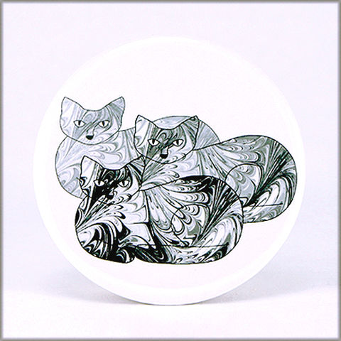 marbled,paper,black,and,white,cat,trio,magnet,marbled_paper,functional_art,kitchen_magnet,refrigerator_magnet, black and white cats magnet, black and white magnet, cat magnet, large magnet, round magnet