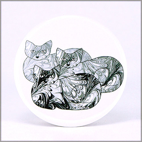 marbled paper black and white cat trio pinback button badge - product images  of