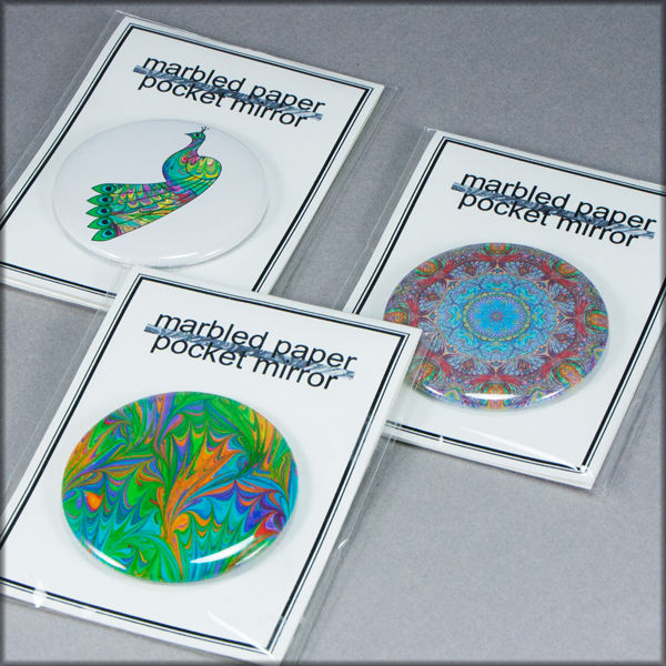marbled paper rainbow cat pocket mirror - product images  of