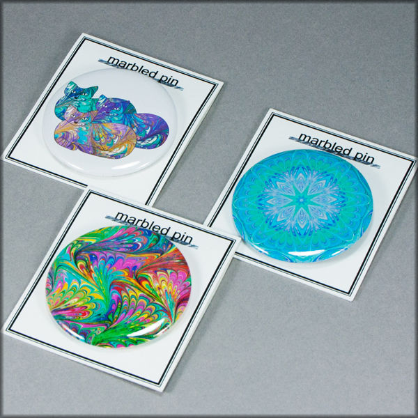 marbled paper rainbow cat trio pinback button badge - product images  of