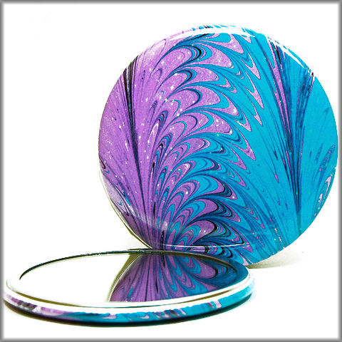 marbled,paper,pocket,mirror,no.,16,Glass,Mirror,Pocket,pocket_mirror,handpressed,glass_mirror,miniature,marbled_paper,marbling,purse_mirror,makeup_mirror,hand_pressed,small_mirror,art_mirror,purple and blue pocket mirror, blue mirror, purple mirror,accessory