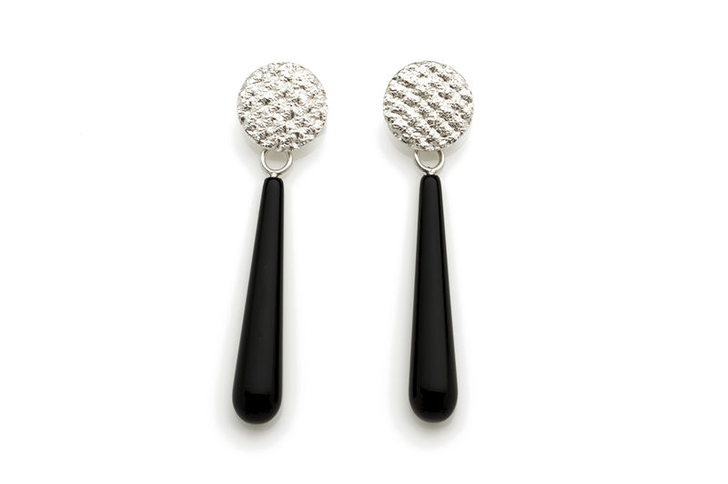 Silver Crochet Onyx Drop Earrings - product images  of