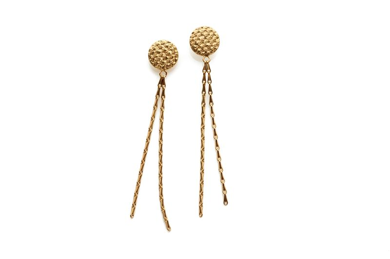 Gold Crochet Earrings With Chain - product images  of