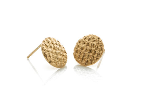 Gold,Crochet,Studs,Stud earrings, handmade earrings, gold earrings, textured earrings, handmade jewellery, women's jewellery