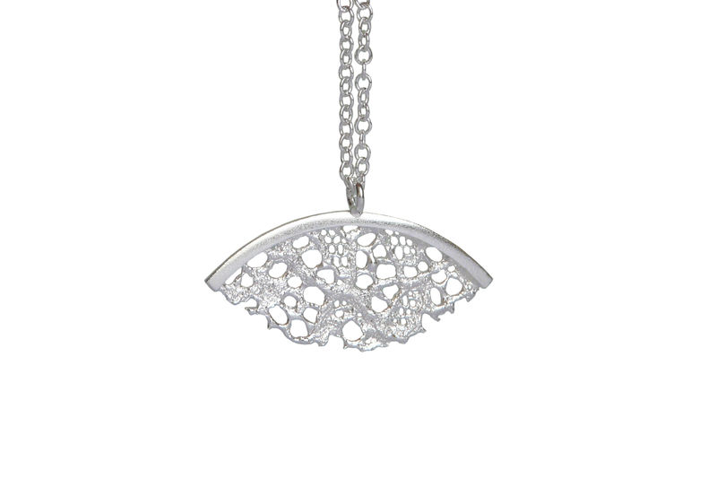 Silver Lace Fan Shaped Necklace - product images  of