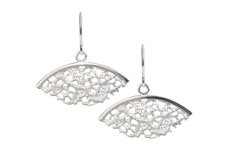 Silver Lace Fan Shaped Earrings - product images  of