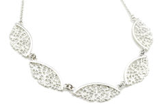 Silver Lace Five Piece Fan Necklace - product images  of