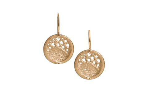 Gold,Lace,Round,Medium,Drop,Earrings,gold earrings,  gold drop earrings, lacey earrings, lace earrings, stylish earrings, handmade earrings