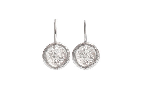 Round Textured Small Drop Earrings Silver