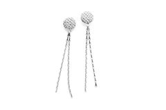 Silver Crochet Earrings With Chain - product images  of