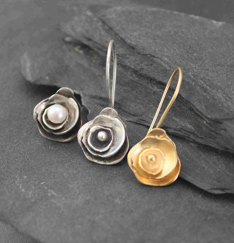 Trinity,Rose,earrings,set,silver earrings, posts, studs, pearls, handmade, silversmith, handmade sterling, silver jewelry, metalsmithed, villain, accessories, flower, silver earrings