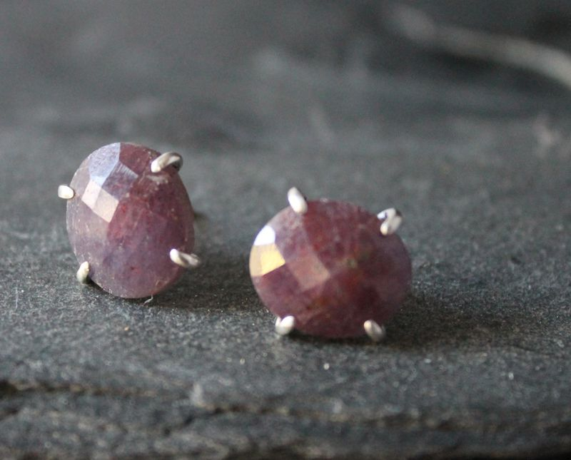 AAA  Crimson sapphire post earrings - product images  of