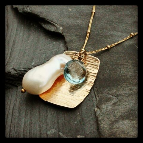 Pradesh,necklace, topaz, blue, gold fill