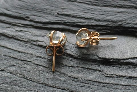 Herkimer,diamond,earrings,in,gold, new york, metalsmithed, villain, accessories herkimer, 14k gold, gold,sterling, wedding, holiday, gifts
