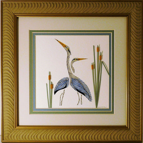 Quilled,Double,Heron,wall,art,handmade,Quilling,rolled paper,wall art,Quilling by Sandra White
