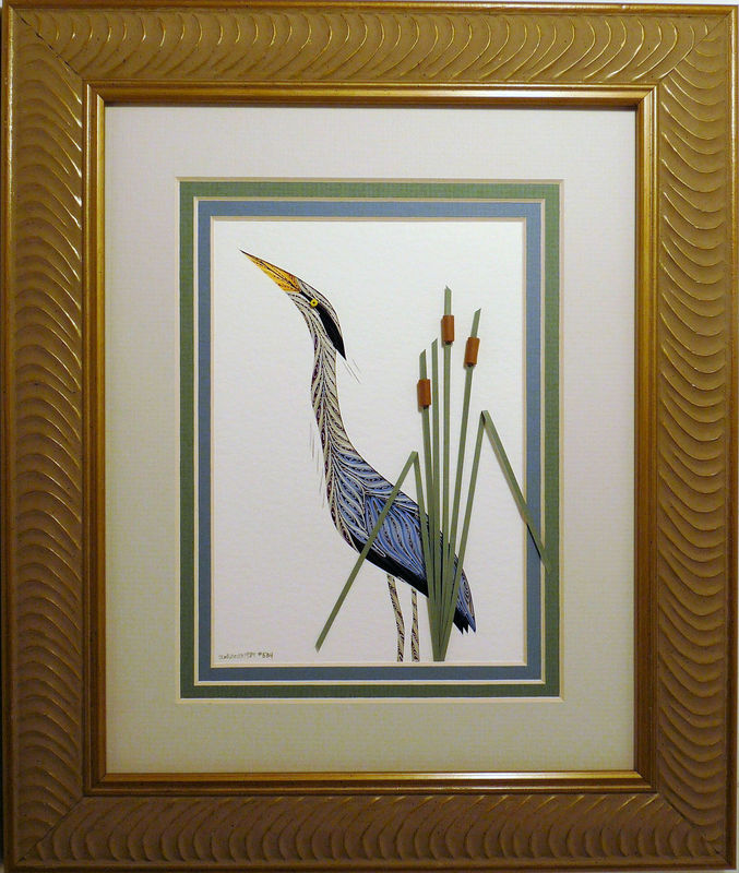 Quilled Heron wall art handmade - product image