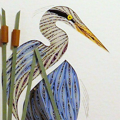 Quilled,Heron,Turned,wall,art,handmade,Quilling,rolled paper,wall art,Quilling by Sandra White