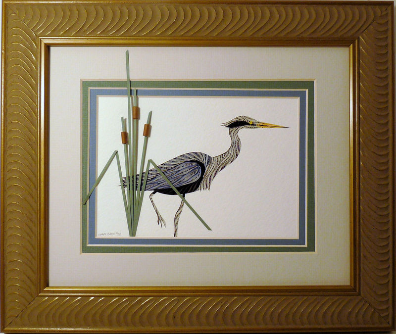 Quilled Heron Fishing wall art handmade - product image