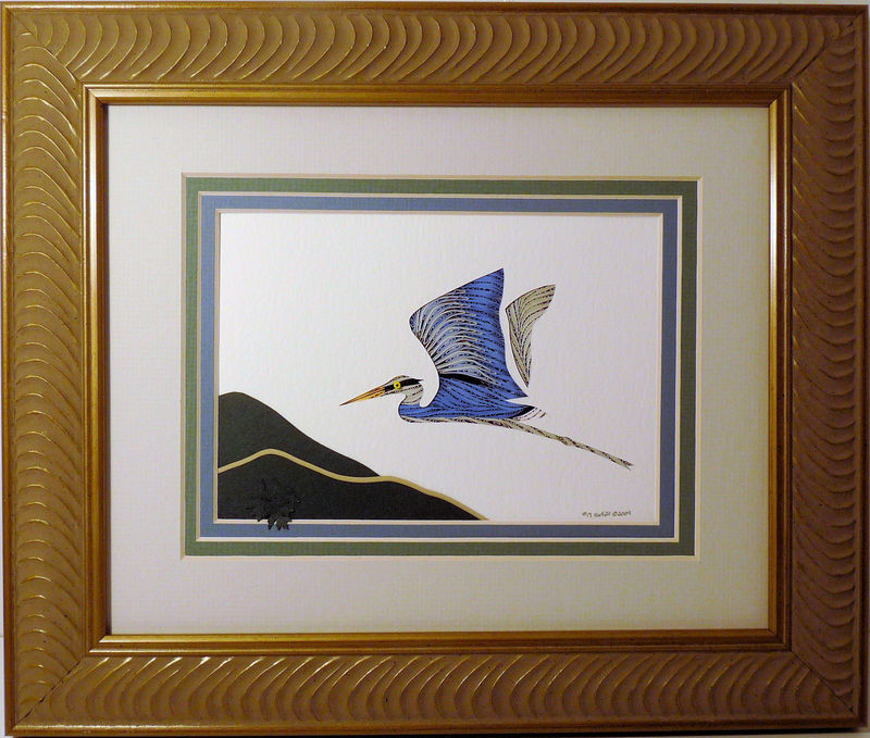 Quilled Heron in Flight wall art handmade - product image