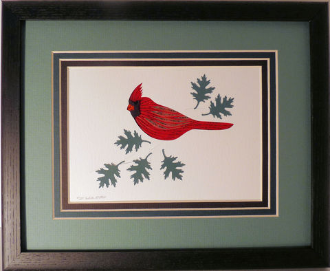 Quilled,Cardinal,wall,art,handmade,Quilling,rolled paper,bird,wall art,Quilling by Sandra White
