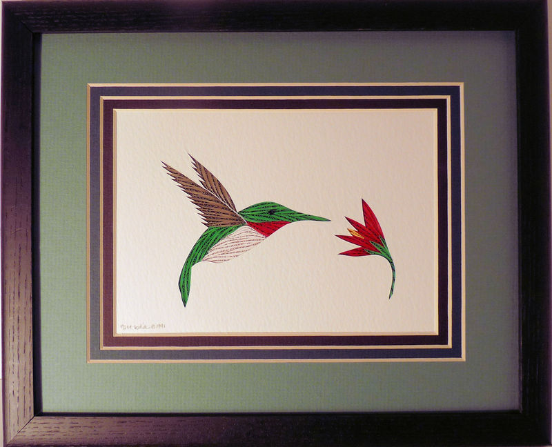 Quilled Hummingbird and Flower wall art handmade - product image