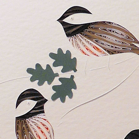 Quilled Chickadees Three wall art handmade - product image