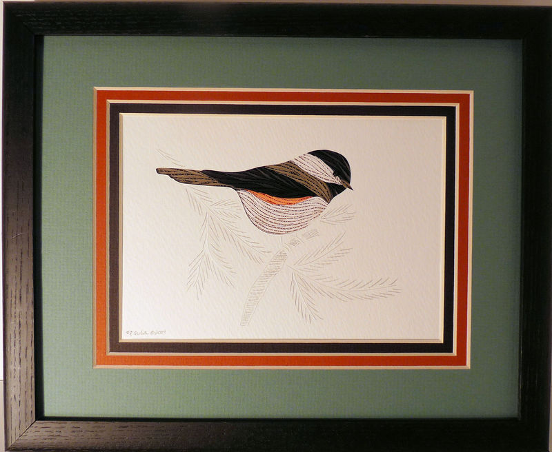Quilled Chickadee in Spruce wall art handmade - product image