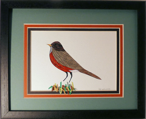 Quilled,Robin,wall,art,handmade,Quilling,rolled paper,robin,bird,wall art,Quilling by Sandra White