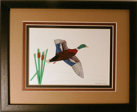 Quilled,Mallard,in,Flight,wall,art,handmade,Quilling,rolled paper,mallard,duck,bird,wall art,Quilling by Sandra White