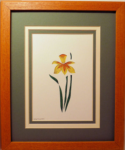 Quilled,Daffodil,wall,art,handmade,Quilling,rolled paper,daffodil,wildflowers,wall art,Quilling by Sandra White