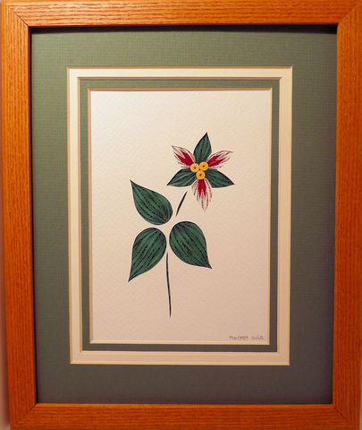 Quilled,Painted,Trillium,wall,art,handmade,Quilling,rolled paper,trillium, painted trillium,wildflowers,wall art,Quilling by Sandra White