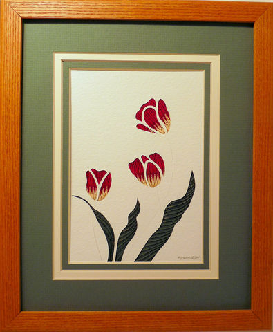 Quilled,Tulips,wall,art,handmade,Quilling,rolled paper,tulips,wildflowers,wall art,Quilling by Sandra White