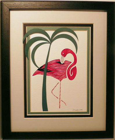 Quilled,Flamingo,wall,art,handmade,Quilling,rolled paper,flamingo,wall art,Quilling by Sandra White