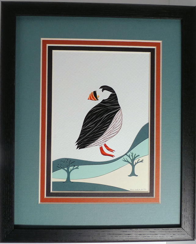 Quilled Puffin wall art handmade - product image