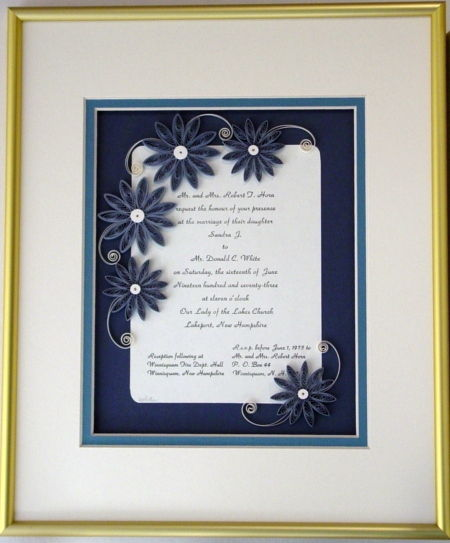 Quilled Wedding Invitation Keepsake Custom - product image