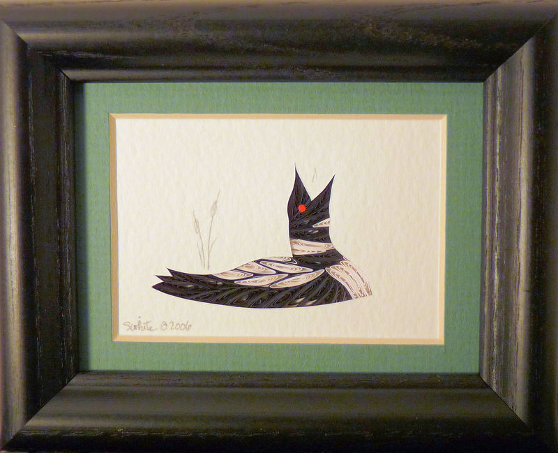 Quilled Little One Loon Calling Bookcase Art - product image