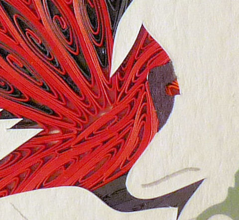 Quilled,Little,One,Cardinal,Bookcase,Art,quilling,quilled,wildlife,bird,cardinal,wall art,bookcase art,framed