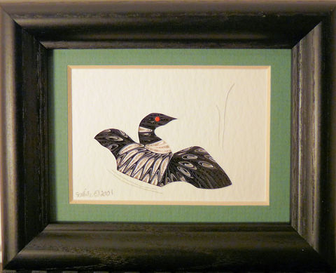 Quilled,Little,One,Loon,in,Display,Bookcase,Art,quilling,quilled,wildlife,bird,loon,wall art,bookcase art,framed