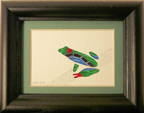 Quilled,Little,One,Frog,Bookcase,Art,quilling,quilled,wildlife,frog,wall art,bookcase art,framed