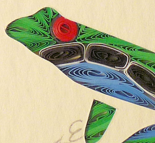 Quilled Little One Frog Bookcase Art - product image