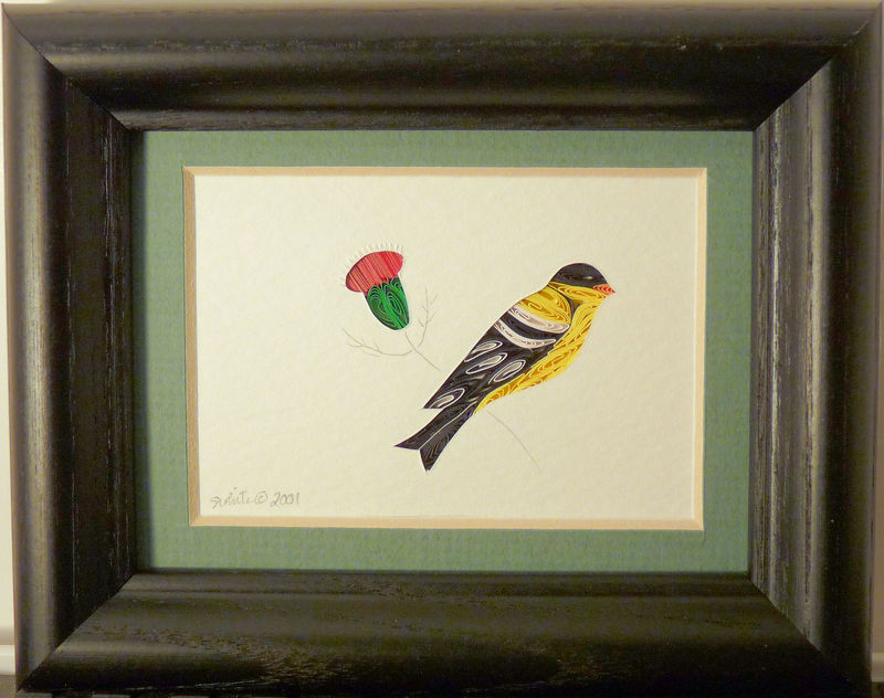 Quilled Little One Goldfinch Bookcase Art - product image