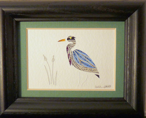 Quilled,Little,One,Heron,Bookcase,Art,quilling,quilled,wildlife,bird,heron,wall art,bookcase art,framed