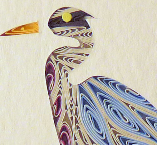 Quilled Little One Heron Bookcase Art - product image